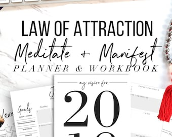 2018 & 2019 Law Of Attraction Meditate + Manifest Planner and Workbook