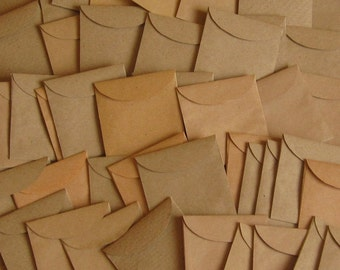 "100 Mini Brown Envelopes - Seed Packets - Confetti Packets - Mini Envelope Favors - Kraft Envelope Favors - Wedding Envelopes 1 7/8"" x 2"""