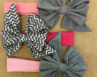 Baby Girl Bows + Baby Headbands + Big Bow Headbands + Girly Bow Headbands + Grey Headbands + Chevron Baby Headband + Baby Shower Gift