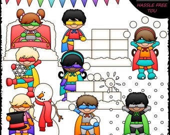 Winter Superhero Kids Clip Art and B&W Set