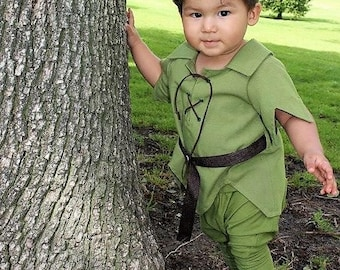 Baby Peter Pan Costume in SZ 9 mo to  24 mo, 2T to 4T, the New Version