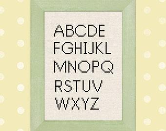Alphabet Cross Stitch Pattern. All Caps ABC Modern Simple Cross Stitch Pattern PDF File