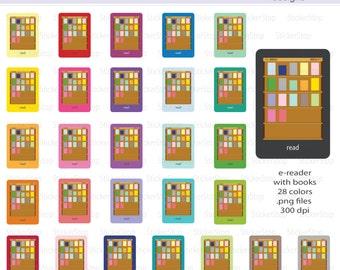 E-Reader or Tablet  with Books Digital Clipart - Instant download PNG files - Ereader
