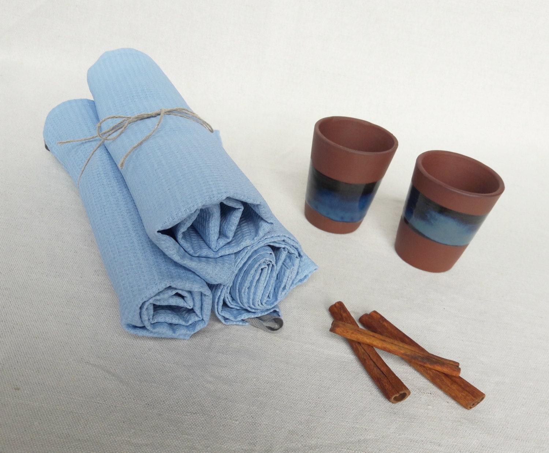 Blaue Waffel Handtücher set Geschirrtücher Baumwolle