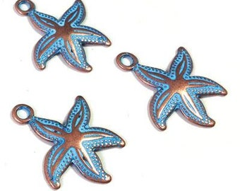 25%OFF Starfish Pendant Blue Patina, Greek Metal Casting, Antique Copper & Blue Patina Charm, Sea Star Seastar 23x21mm - 2 pc TH300