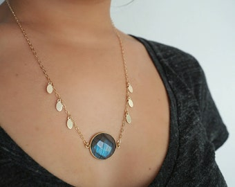 14k Gold Labradorite with Oval Discs Charm Necklace