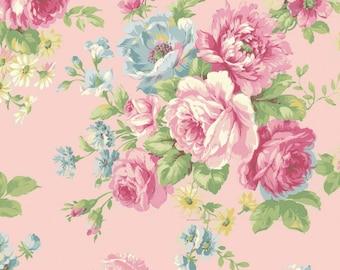 Quilt Gate USA Ruru Bouquet # RU2300-11B Pink Rose   By the yard