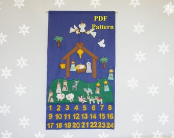 PDF Nativity Advent Calendar + 24 christmas Ornaments   Felt  Advent PDF Pattern  Holiday Countdown  Sewing pattern  Instant Download