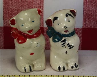 Vintage American Bisque Co Teddy Bear Salt and Pepper Shakers