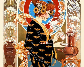 Coffee Cafe Lady Nouveau Coffee House Lattes Tea Pastries American Vintage Poster Repro FREE SHIPPING in USA