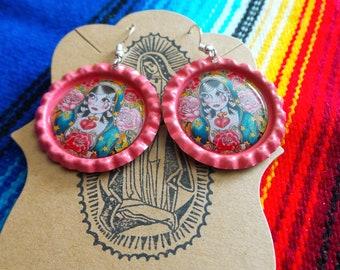 Pink Lady of Guadalupe Bottle Cap Earrings