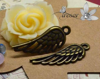set of 10 QDW243 pendant, bronze, wing