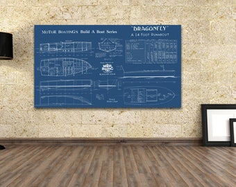 Print of Vintage DRAGONFLY Boat Blueprint from Motor Boating's Build a Boat Series on Your Choice of Matte Paper, Photo Paper, or Canvas