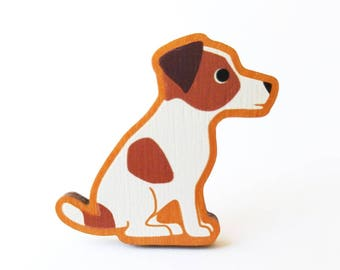Jack Russell Terrier Wooden Brooch Pin