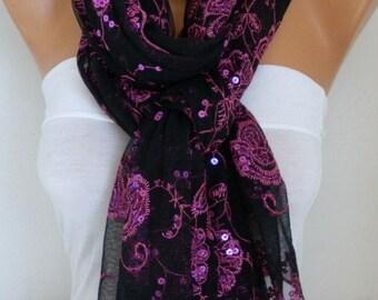 Black & Pink Sequin Tulle Scarf,Wedding Shawl,Lace Scarf,Cowl,Bridesmaid gift Bridal Scarf, Lace Mantilla,Church Lace Chapel Veil Mantilla