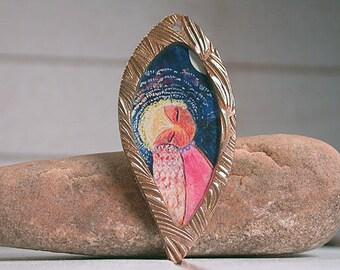 Owl Pendant, Bronze Metal Clay Resin Charm, Owl, Original Artwork, Unique Bronze Charm, Divine Spark Designs, SRA
