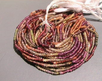 2 TO 2.75mm Tundra Multi Sapphire Mcro faceted rondelle Full 13inch Strand-AAA Quality