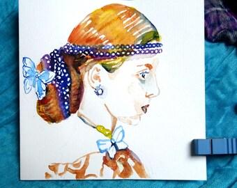 Meisje met vlinders in haar haar. Originele aquarel.