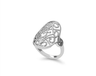 Sterling Silver filigree ring, index finger ring, fancy ring