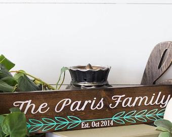 Custom Family Name Wood Sign, custom, wood, personalized, family, established date, vinyl, home decor