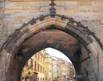 Prague Photography - Archway - Beautiful Architecture - Bridge - European Romantic Wall Decor - Art Print
