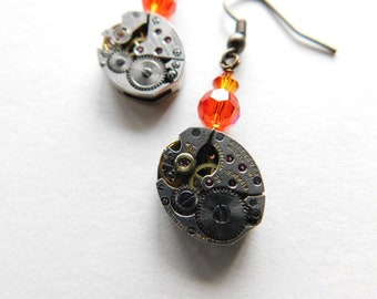upcycled WATCH MOVEMENT steampunk earrings with crystal accents