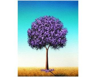 Purple Tree Painting, ORIGINAL Oil Painting, Whimsical Lavender Blossom Tree Art, Textured Dreamscape, Violet Flowering Landscape, 8x10