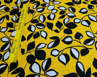 Laughing Leaf-Black and Yellow Cotton Fabric (CX-3602) from Michael Miller