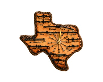 Texas State Plaque with Antique Barbed Wire  - Small Clock