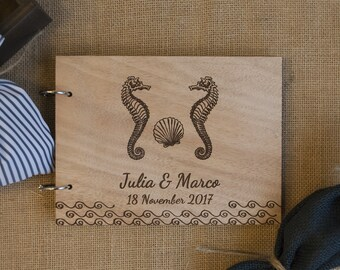 rustic beach wedding / nautical guest book / nautical wedding / destination wedding / nautical decoration / seahorse guest book /