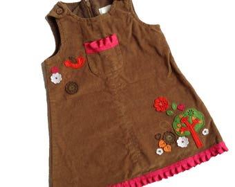 Corduroy Forest Jumper Dress Vintage - Spring - Summer - Easter