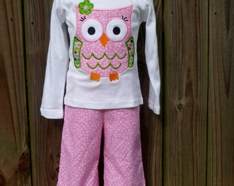 Personalized Fall Owl Applique Shirt or Bodysuit