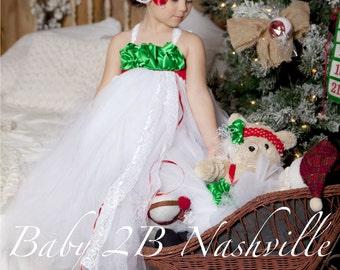 Christmas Dress White Dress Flower Girl Dress Tutu Dress Wedding Dress Holiday Dress Baby Christmas Dress Toddler Dress