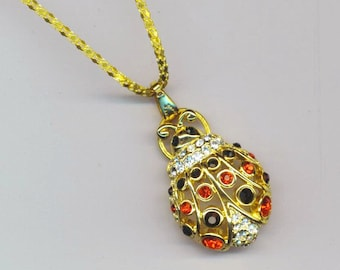Filigree Ladybug . Pendant/Pin. Red, Black, Clear Rhinestone Polkadots . Love, Marriage - Ladybug, Ladybird by enchantedbeas on Etsy