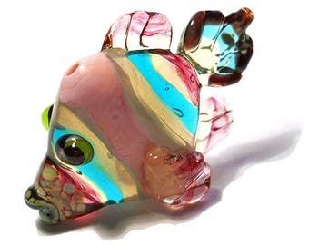 Pink and teal striped glass fish pendant necklace, lampwork glass bead, handmade sculptural fish, ocean focal bead, art glass jewelry