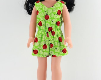 "14in Doll Clothes - 14.5"" Doll Ladybug Romper - 14in Doll Clothes - 14.5 inch AG Wellie Romper- Also fits H4H dolls"