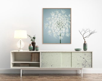 Queen Anne's Lace Flower Photography Print, Blue, White, Flower Wall Art, Floral Photography Print