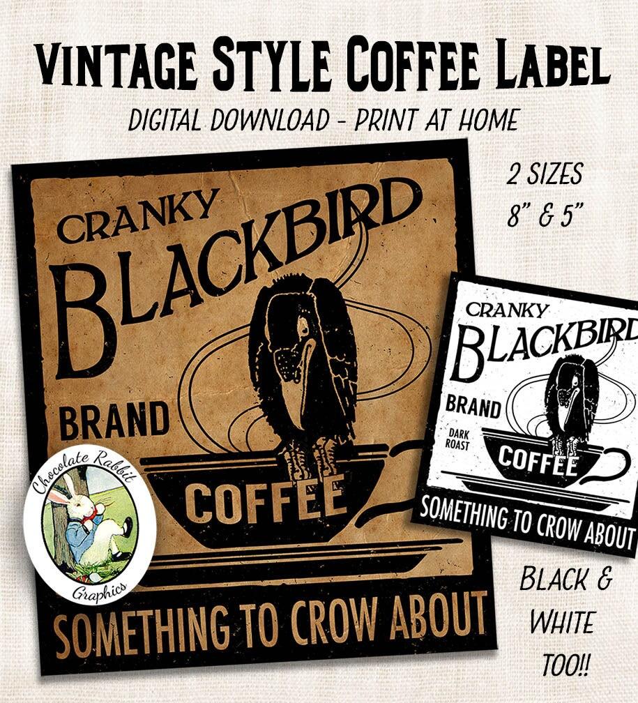 Kaffee-Label Tag Vintage-Stil Primitive Prim Land Küche digitaler Download druckbare DIY-Tags Scrapbook Grafiken Blatt ClipArt Bilder