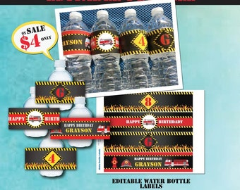 Printable Fireman Birthday Water Bottle Labels-Firetruck Birthday Water Bottle Labels-Editable PDF File-Fireman Party-Firetruck Party