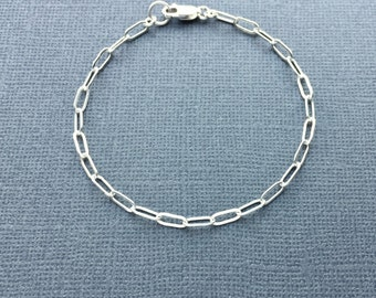 Sterling Silver Chain Bracelet, Silver Rectangle Link Chain Bracelet, Delicate Silver Bracelet, Dainty Silver Anklet, Drawn Flat Cable Chain