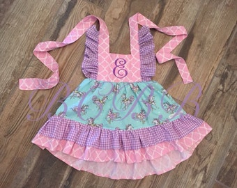 Painted Ponies Carousel Horses Dress Toddler Girl Summer Spring Photoshoot Handmade Lavender Pink Blue Purple Twirl Skirt Ruffles