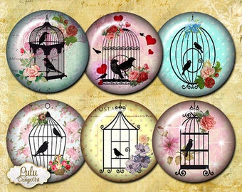 Birds Cages - 1 inch Circle - Round Images - Printable Collage Sheet for Pendants, Pocket Mirrors, Buttons, planner stickers, bird images