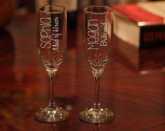Personalized  Champagne Glasses, Bridesmaid Champagne Glasses, Etched Champagne Glasses, Toasting Flute, Bridesmaid Flutes