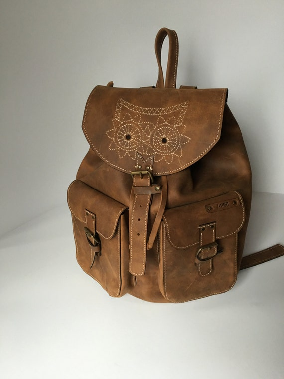 Leather Backpack,Full Grain leather Back Pack,Owl Eboidred Leather Backpack,Travel Bag,Overnight Bag, School Bag,  Rucksac