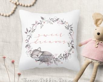 Fox Pillow, Woodland Pillow, Fox Nursery Pillow, Sweet Dreams Pillow, Woodland Nursery Decor, Woodland Animals, Watercolor Fox Wreath
