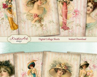 75% OFF SALE Elegant Ladies - Digital Collage Sheet Digital Cards C161 Printable Download Image Tags Digital Image Atc Fashion Cards ACEO