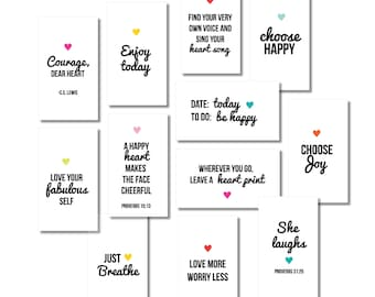 PRINTABLE Mini Inspirational Quote Cards, Collection #2, Mini Lunchbox Notes, Encouragement Cards, Cards for Kids, Instant Download