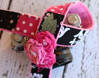 Camera Strap. dSLR Camera Strap. Camera Strap for Canon or Nikon Cameras - Black and Pink Damask.