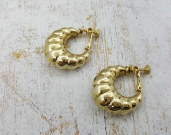 Shrimp style Gold tone Hoop Clip Earrings Lever back