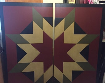 PRiMiTiVe Hand-Painted Barn Quilt - 5' x 5' Harvest Star Pattern (Cinder Version)